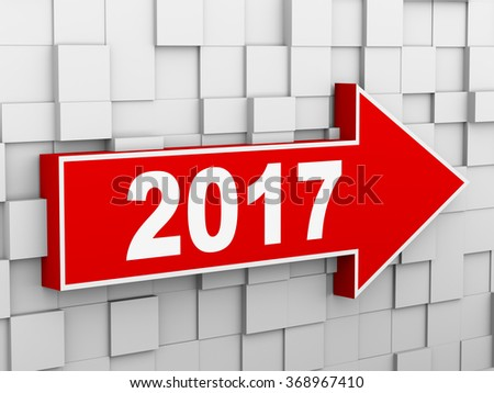 3d illustration of abstract cube wall arrow design concept of new year 2017