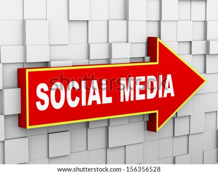 3d illustration of abstract cube wall arrow design concept of social media - stock photo