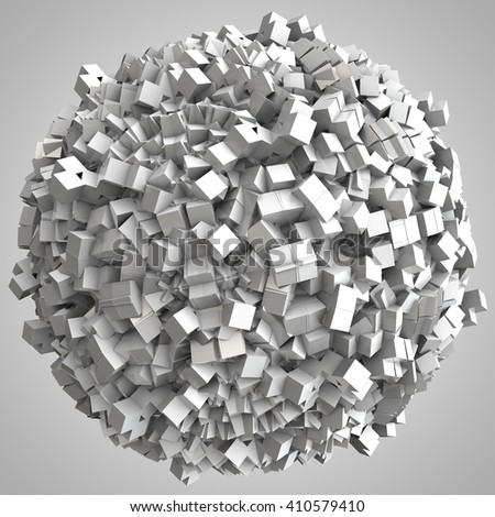 3D illustration of abstract cubes boxes sphere