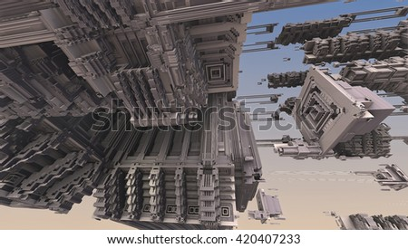 3d illustration of abstract geometric composition ,digital art works.