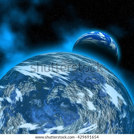 3D illustration of abstract scene with planets and galaxy of deep space
