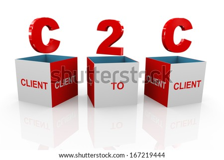 3d illustration of acronym c2c - client to client box - stock photo