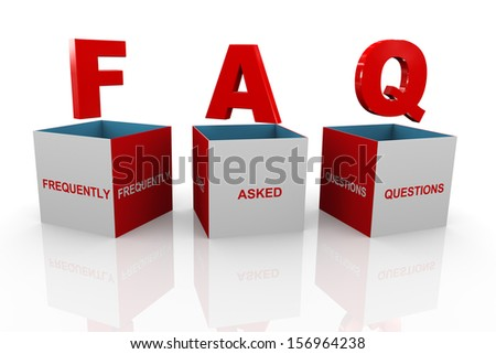 3d illustration of acronym faq - frequently asked questions box. - stock photo