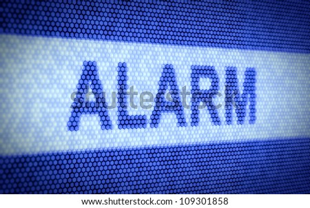 3d illustration of alarm text on computer scr