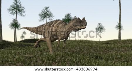 3d illustration of alluring ceratosaurus  - stock photo