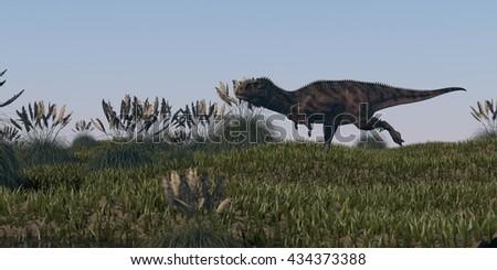 3d illustration of alluring majungasaurus - stock photo