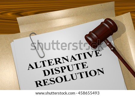 "3D illustration of ""ALTERNATIVE DISPUTE RESOLUTION"" title on legal document"
