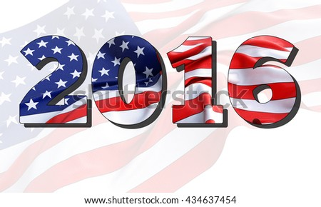 3d illustration of 2016 American Flag