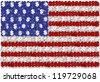 3D illustration of American flag made of many dollar symbols / USA flag and dollar - stock photo