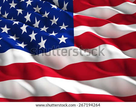 3d illustration of american old glory flag - stock photo