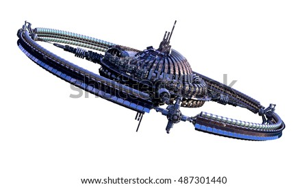 3D illustration of an alien spaceship or futuristic space station, with a central dome and gravitation wheel, for science fiction backgrounds with the clipping path included in the file.