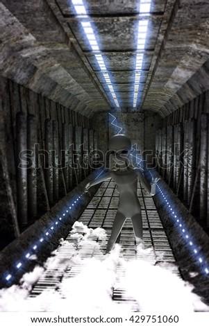 3d illustration of an alien walking in a spaceship corridor - stock photo