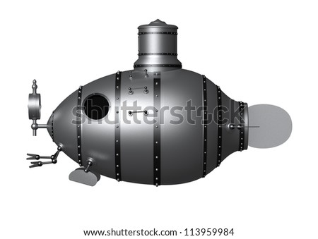 3d illustration of an ancient submarine - stock photo