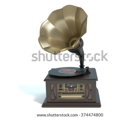 3d illustration of an antique record player