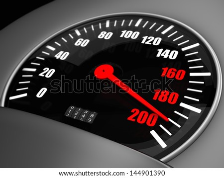 3d Illustration of an arrow on a speedometer points to the one hundred ninety