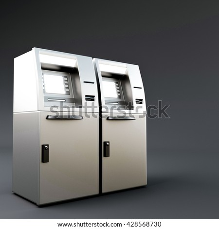 3d illustration of an atm isolated on dark gray background - stock photo