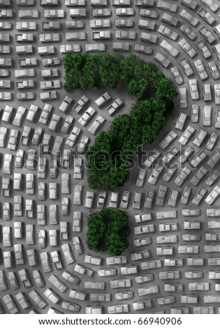 3D illustration of an eco problem about our world and cars - stock photo