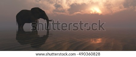 3D illustration of an elephant and sunset