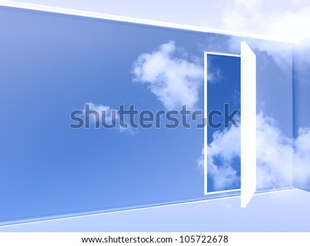 3d illustration of an empty and transparent room in the sky with an open door - stock photo