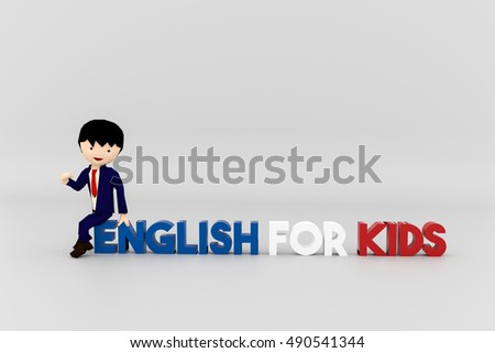 3d illustration of an english teacher for young kids