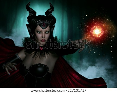 3D Illustration of an evil female sorceress in a dark wooded forest throwing a fireball.