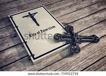 3d Illustration of an exorcism book on wooden floor