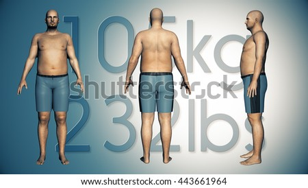 3D Illustration of an Obese Man Losing Body Weight and BMI Index