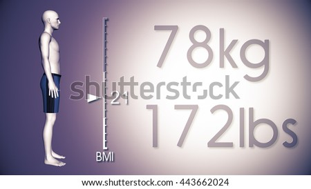 3D Illustration of an Obese Man Losing Body Weight and BMI Index - stock photo