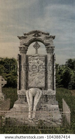 3d illustration of an old gothic tombstone