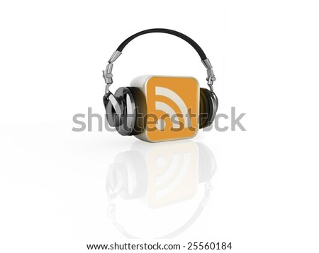 3d illustration of an RSS feed logo, with headphones - stock photo