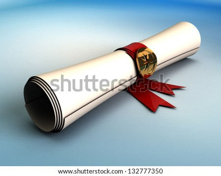 3d illustration of ancient paper scroll, over blue background - stock photo