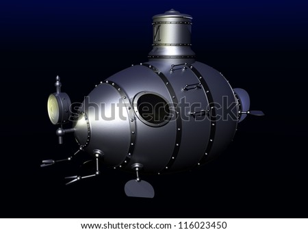3d illustration of ancient submarine on a gradient black/blue  background. - stock photo