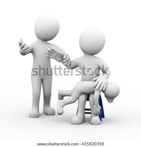 3d illustration of angry father beating his son while wife stopping him by holding his hand.