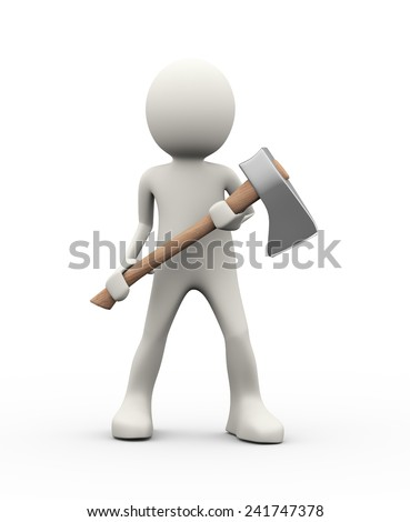 3d illustration of angry man holding axe. 3d human person character and white people - stock photo