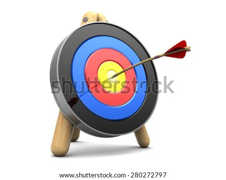 3d illustration of archery target with arrow in center