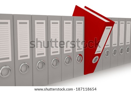 3d illustration of archive folders with one selected - stock photo