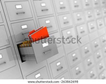 3d illustration of archive with finded folder - stock photo