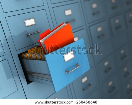 3d illustration of archive with red folder - stock photo