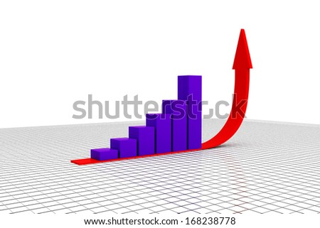 3D illustration of arrow and bar chart graph growing up. - stock photo