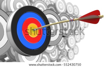 3d illustration of arrow with target over many targets background