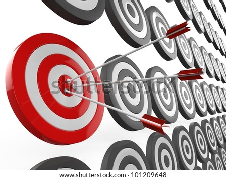 3d illustration of arrows, right target concept..