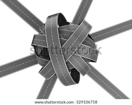 3d illustration of asphalt road knot isolated over white - stock photo