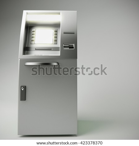 3d illustration of atm isolated on gray background - stock photo
