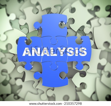 3d illustration of attached jigsaw puzzle pieces word analysis presentation on background of heap of puzzle pieces - stock photo