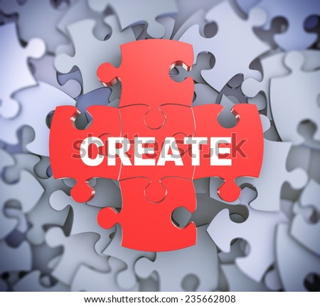 3d illustration of attached jigsaw puzzle pieces word create presentation on background of heap of puzzle pieces - stock photo