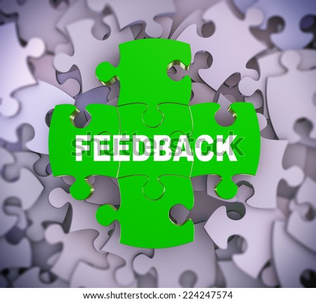 3d illustration of attached jigsaw puzzle pieces word feedback presentation on background of heap of puzzle pieces - stock photo