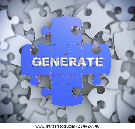 3d illustration of attached jigsaw puzzle pieces word generate presentation on background of heap of puzzle pieces - stock photo