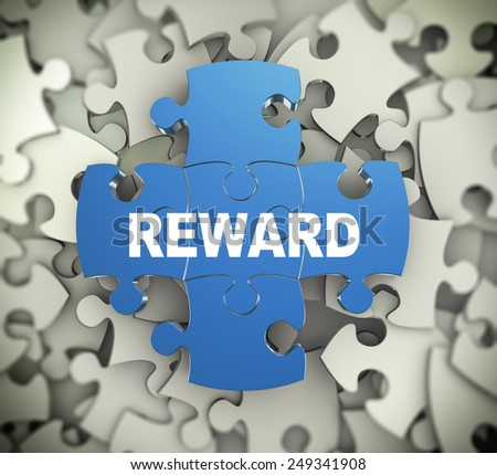 3d illustration of attached jigsaw puzzle pieces word reward presentation on background of heap of puzzle pieces - stock photo