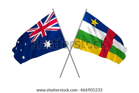 3d illustration of Australia and Central African Republic flags waving