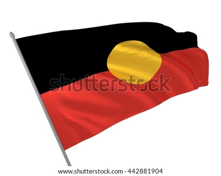 3d illustration of Australian Aboriginal flag waving in the wind - stock photo
